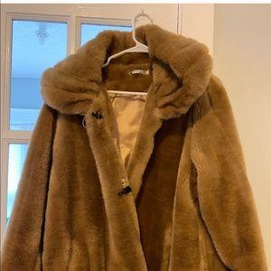 Tan faux fur women's coat size medium